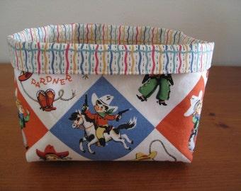 Kids Retro Cowboy Western Fabric Storage Basket Box Bin
