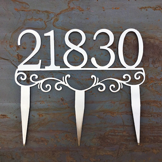 Metal Address Stakes   Yard Address   House Number Yard Sign   Stainless Steel Address Marker
