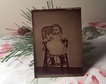 Vintage Tin Type Photo - Toddler in High Chair