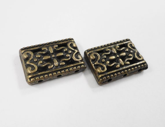 Bronze Spacer Beads 17x11mm Antique Brass Three (3) Hole Rectangle Beads, Metal Spacer Beads for Jewelry Making, 10 Loose Beads per Pack