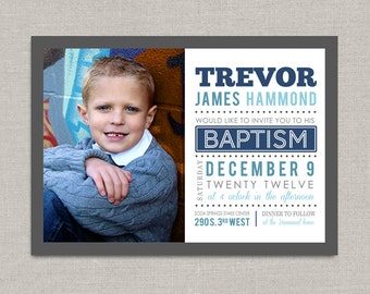 LDS Baptism Invitation - Trevor