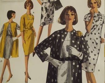 UNCUT and FF Pattern Pieces Vintage Simplicity Retro S0649 Simplicity Sewing Pattern Dress and Unlined Coat or Vest in Two Lengths