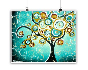 Tree of Life Modern Art Print, Turquoise Home Decor Wall Art Housewarming Gift, Mothers Day Gift