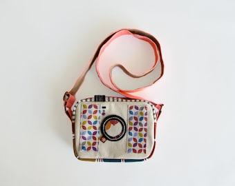 Camera shaped bag, fabric cross body hand bag, camera messenger bag,  pink camera bag