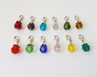 Crystal birthstone charms on a lobster clasp