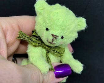 REDUCED - Fern - One of a Kind Miniature Artist Bear - Vegan