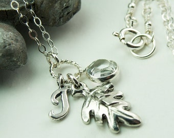 Leaf Necklace, Fall Wedding Jewelry April Birthstone Necklace, Birthstone Jewelry, Personalized Jewelry, Initial Necklace, Wedding Favor