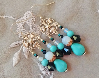 Opal turquoise chandelier earrings, Long Gypsy Silver turquoise copper opal black crystal chandelier earrings