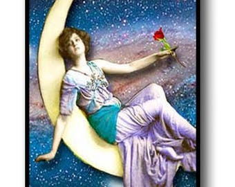 """Fantasy Reclining Woman & Moon Picture Pendant Necklace 1'x2"""" with Chain"""