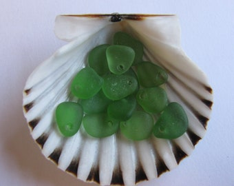 Sea Glass Green,Top Drilled, Sea Glass Vintage, Genuine Beach Glass, Jewelry Supply