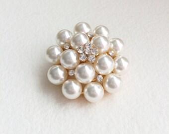 Pearl brooch,wedding brooch,flower brooch,Gold Brooch,Bridal brooch,vintage brooch,jewelry pin brooch pearl crystal rhinestone ROUND MED