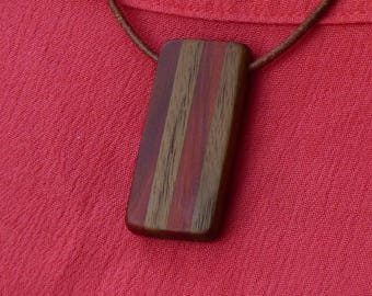 Red heart and Walnut Necklace