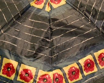Black Navy Red and Yellow Abstract Floral Upcycled Umbrella Dog Rain Coat