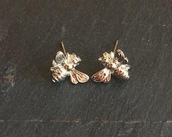 Silver Tiny Cute Bumblebee Honey Bee earrings studs