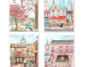 Travel Theme Nursery, Coral Paris London Rome New York, Personalized Set Of 4, Girls Bedroom Fashion City Theme Coral, 6 Sizes 5x7 to 24x36