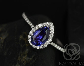 Rosados Box Tabitha 8x5mm 14kt White Gold Pear Blue Sapphire and Diamonds Halo Engagement Ring