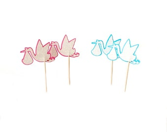 Stork Cupcake Toppers, Blue or Pink, Baby Shower Cake Toppers, Set of 12, TwoSistersGreetings
