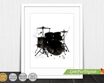 Printable Drums Music Rock Watercolor Texture Print Silhouette Digital Wall Decor artwork