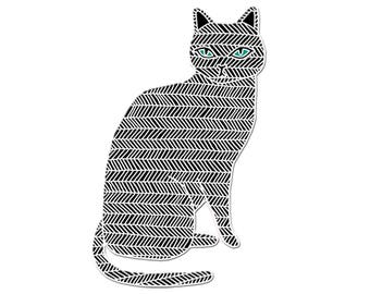 Black Cat Enamel Pin, Black Cat Jewelry, Black Cat Brooch, Black Cat Pin