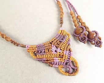 Macrame Necklace In Pink and Brown