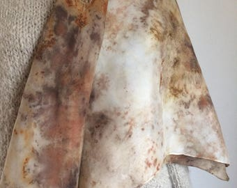 Black walnut, copper, rust, and goldenrod naturally dyed silk scarf square