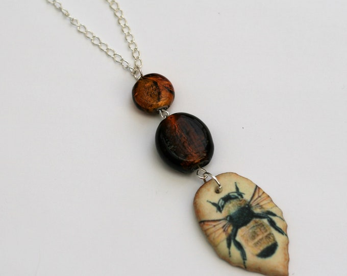 Large Bee Statement Necklace, Bee Pendant, Woodland, Animal Necklace