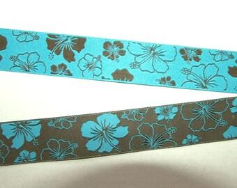 "reversible ribbon Hibiscus Hawaiiflower turquoise/brown 13/16"""