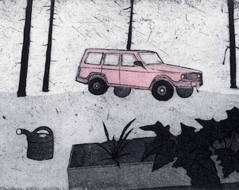 Broke Down Jeep - Original Etching, Aquatint and Chine Colle