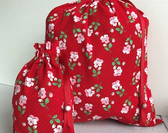 Pretty Simple Drawstring Project Bag Set - Red & Pink Posy - red, pink, green