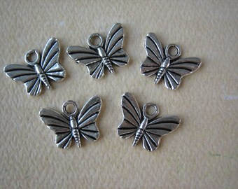 5PCS - Butterfly Charms - Antique Silver - 15x10mm - Findings by ZARDENIA