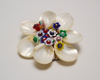 Vintage Floral Brooch: Mother of Pearl Flower