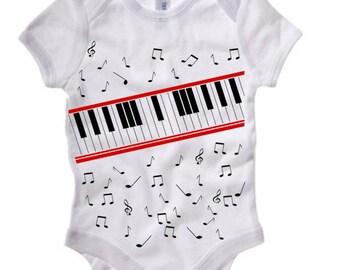 Piano Tee van Beat It Video Baby korte mouw Onesie 100B