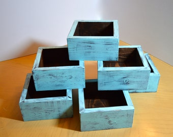 Wedding Center Piece Shabby chic wooden planter box set of 6, candles, flowers, herb garden, etc