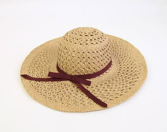 VINTAGE Straw Hat Wide Brim Sun Hat