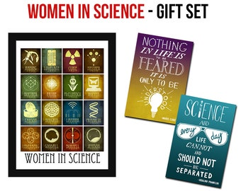 Women In Science Gift Set, 5x7 Science Print & 2 Inspirational Quote Postcards from Female Scientists Marie Curie and Rosalind Franklin