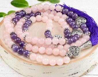 "ROSE QUARTZ & AMETHYST Mala Beads - 40"" long, 8mm Bead, Rose Quartz Mala, Mala Prayer Beads, Prayer Necklace E0977"