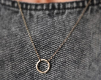 gold infinity circle necklace - gold circle necklace - minimalist jewelry -dainty necklace - dainty gold jewelry gift -gift for her under 10