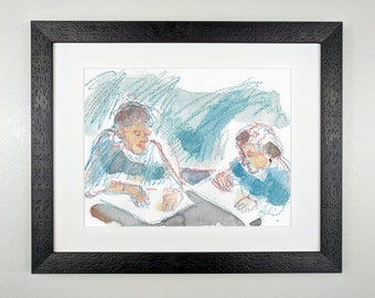 Two Women Painting, in Blue-Green and Orange - Original Framed Watercolor