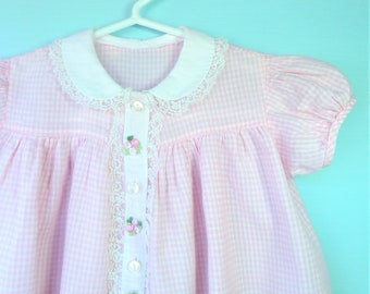 Sweet Vintage 1950's Pink Gingham Infant Easter Dress w/ Peter Pan Collar     18 Months