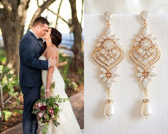 Gold Wedding Earrings, Chandelier Bridal Earrings, Long Dangle Earrings, Crystal Earrings, Swarovski Pearl Earrings, Bridal Jewelry, EZMAE