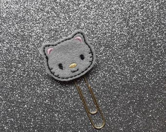 Grey Kitty Kitten Cat.  Planner Feltie Clip.  Paperclip.  Felt Clip. Planner Gifts.  Stationery.