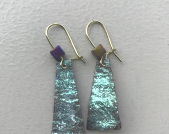 Reversible kombucha handpainted turquoise and purple drop earrings with fire quartz stone and gold hooks.