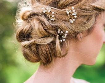 Set of 3 Crystal Hair pins bridal hair pins Silver hair pins wedding hair pins Gold Hair pins bridal hair set crystal leaf hair pins #155