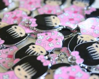 Baby Pink Kimono Kokeshi Doll - Japanese doll metal charms (2)
