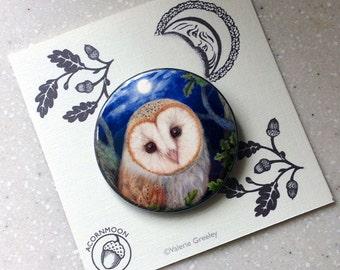Barn Owl Pin Badge