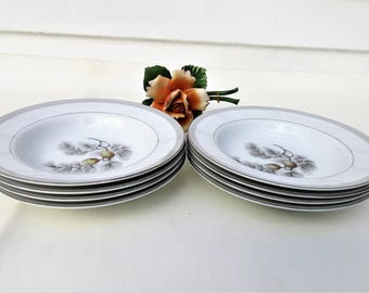 Vintage Rim Soup Bowls | Cereal Bowls | Salad Bowls | Kent Fine China | Silver Pine | 50s Dinnerware | Set of 8