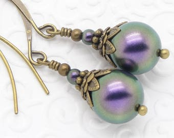 Neo Victorian Style Earrings with Iridescent Purple Swarovski Pearls and Brass