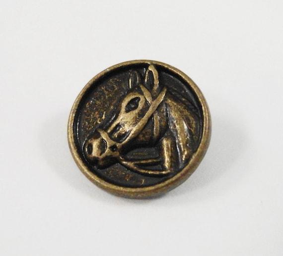 Bronze Horse Buttons 14mm Bronze Metal Shank Buttons, Antique Brass Horse Head Buttons, Horse Buttons, Western Buttons, Sewing Supplies, 5pc