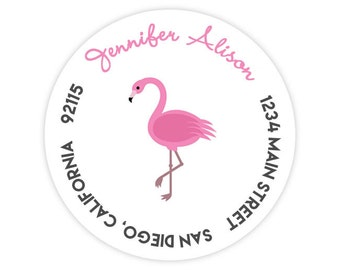 Pink Flamingo Round / Circle Return Address Labels / Stickers - 1.75 inch circles / 20 per set
