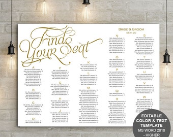 Find your seat, seating chart, printable, template, wedding seating chart, poster, instant download, S10